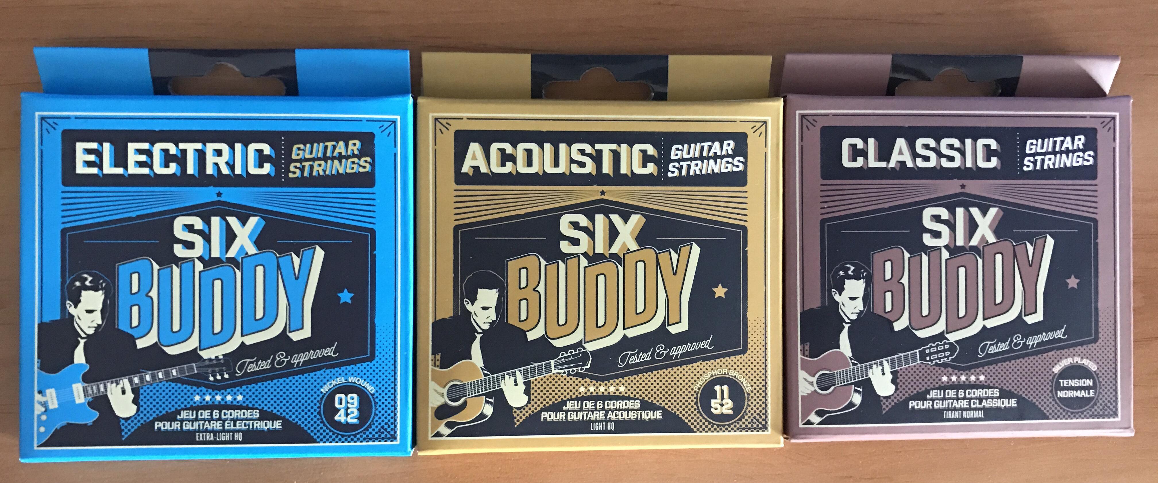 Jeu de cordes de guitare Six Buddy HQ-TNC - différents types