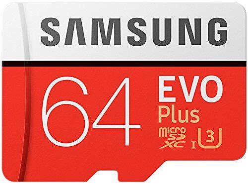 Carte mémoire microSDXC Samsung Evo Plus U3 (Version 2017, L100/E60 Mo/s) - 64 Go