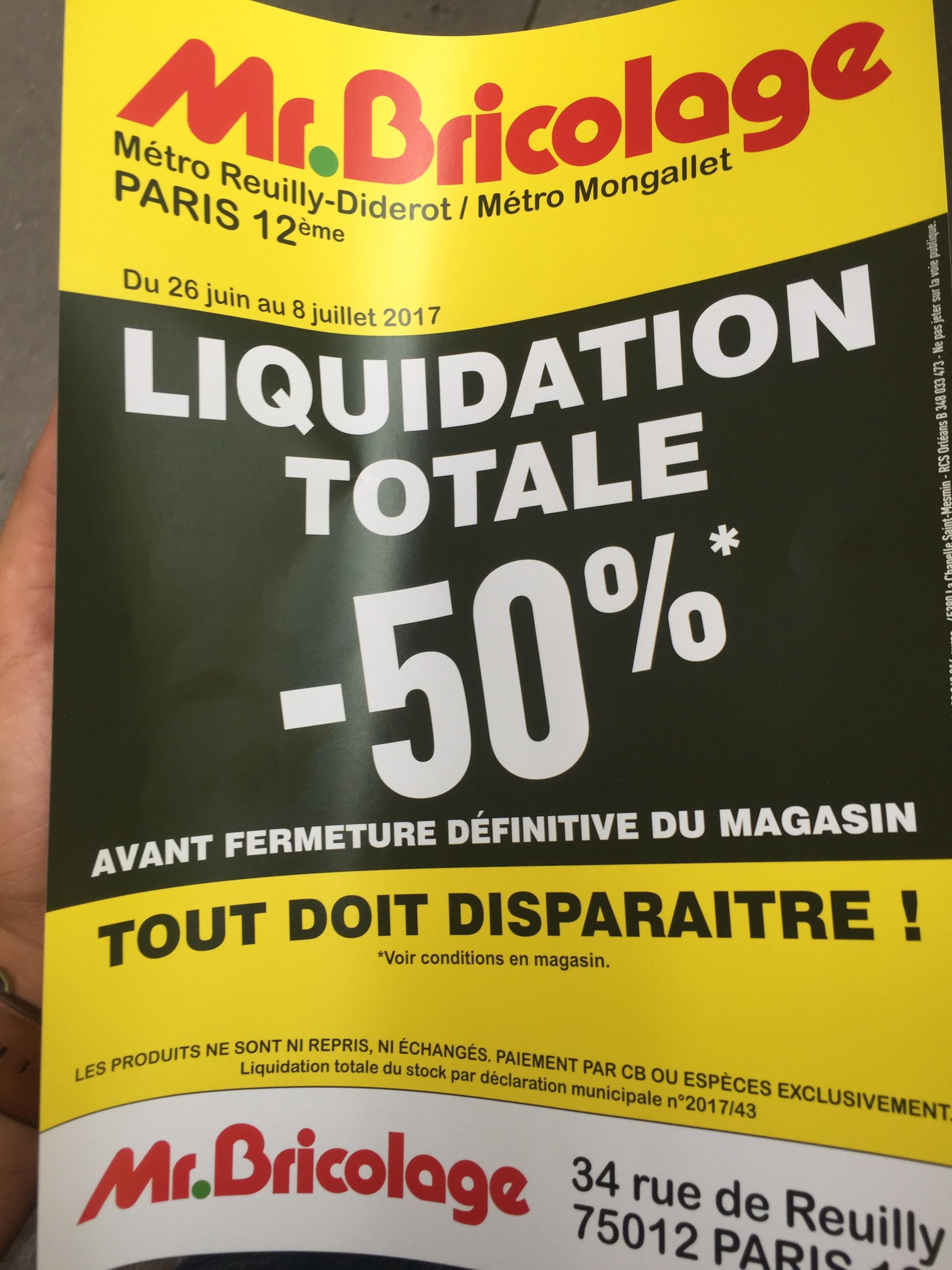 Liquidation totale : 50% de réduction sur tout