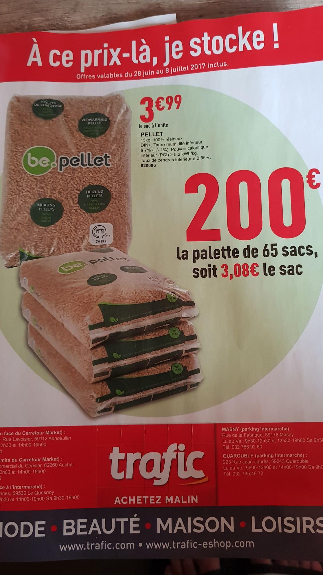 Palette de 65 sacs de 15 kg de granulés de bois Be.pellet DIN plus