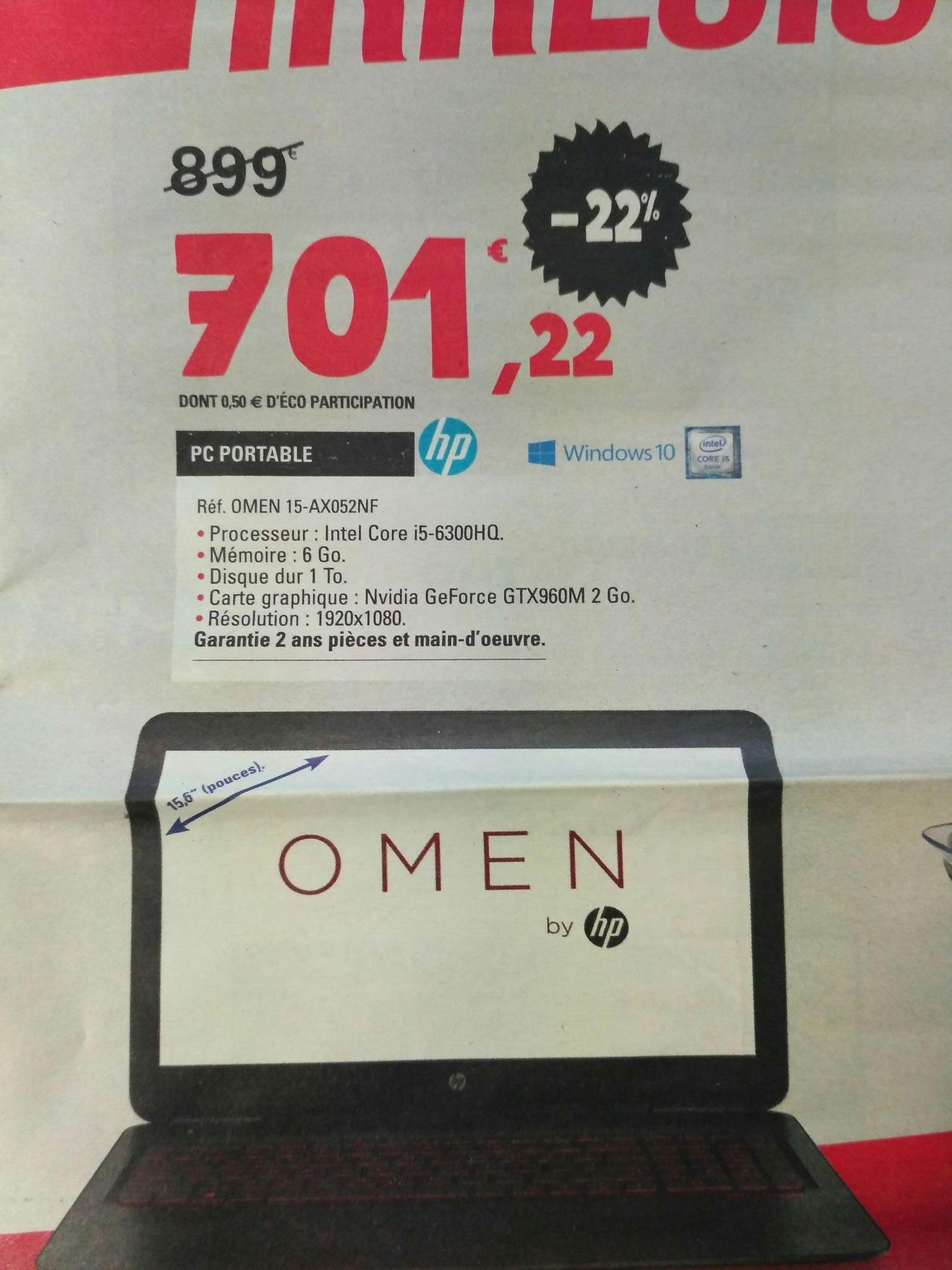"PC Portable 15,6"" HP Omen - Full HD, i5-6300HQ, 6 Go RAM, HDD 1 To, GTX 960M"