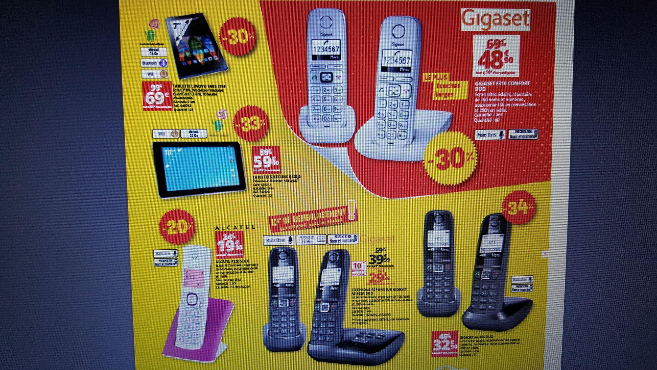 Téléphone Gigaset AS405A Duo avec répondeur (via ODR 8€)