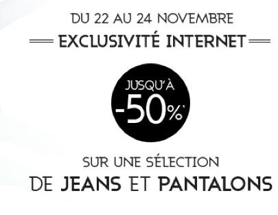 Jusqu'à -50 % sur une sélection de jeans et de pantalons + 10% supplémentaires