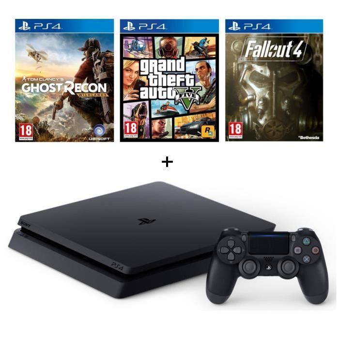 Sélection de packs PS4 en promotion - Ex : Console Sony PS4 Slim 500 Go + GTA V + Ghost Recon Wildlands + Fallout 4