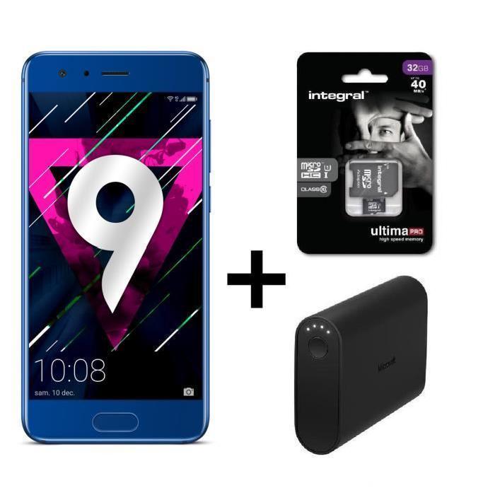 "Smartphone 5.15"" Honor 9 + Carte microSDHC Integral 32 Go + Powerbank 9000 mAh (via ODR 30€)"