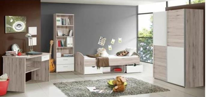 Chambre enfant complète style classique décor chêne cendré et blanc mat - l 90 x L 190 cm