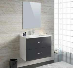 Ensemble salle de bain simple vasque L 80 cm - Party Gris anthracite brillant