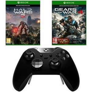 Manette sans fil Microsoft Xbox One Elite + Halo Wars 2 + Gears 4 (1,2,3, Judgement en code) - via l'application