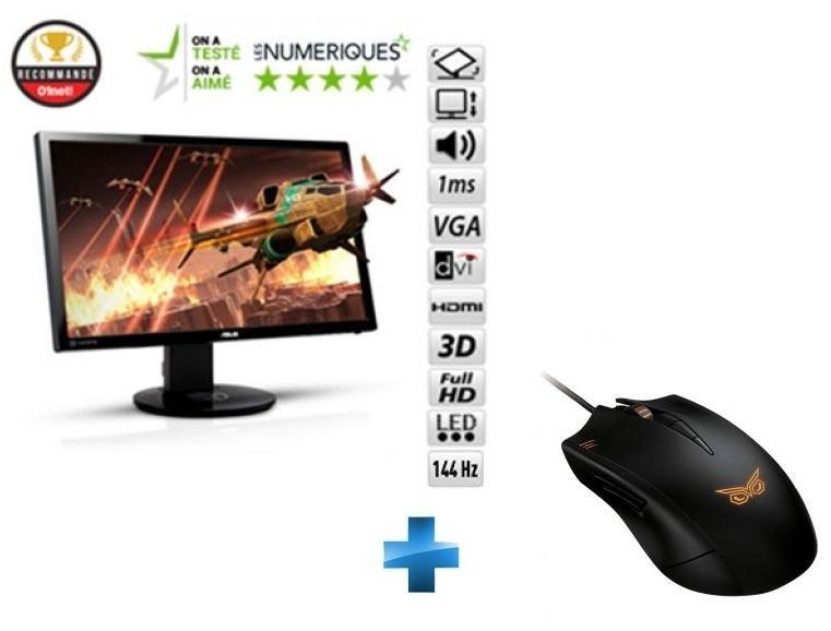 """Ecran PC 24"""" Asus VG248QE - 144Hz + Souris Strix Claw Dark Edition"""