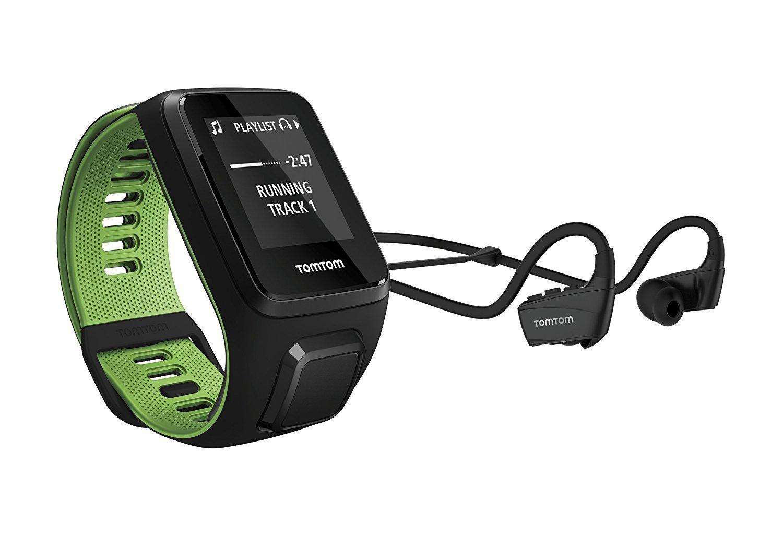 Montre de Sport GPS TomTom Runner 3 Music + Casque BT - Bracelet Fin Noir/Vert