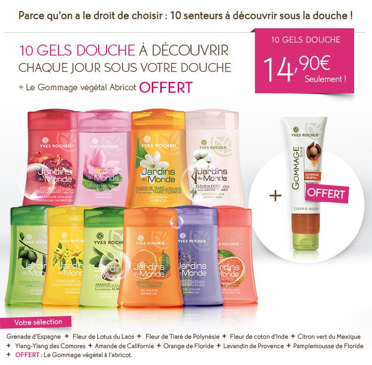 10 gels douche + gommage + parfum Flower Party + cadeau