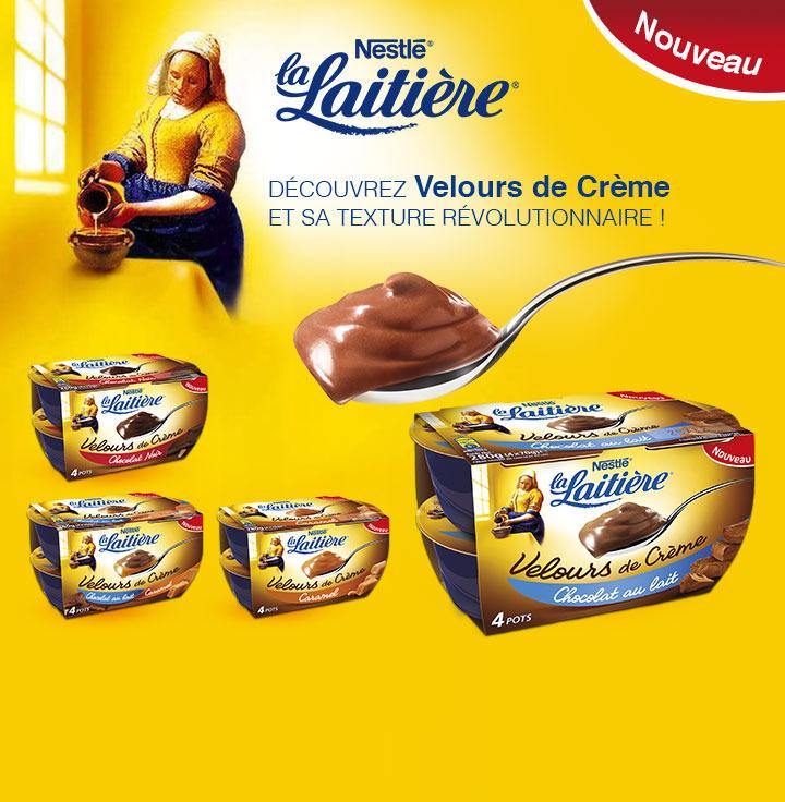 Crème dessert La Laitière Velours de Crème x4  - 4 parfums disponibles (Via Shopmium + gain 0.40€)