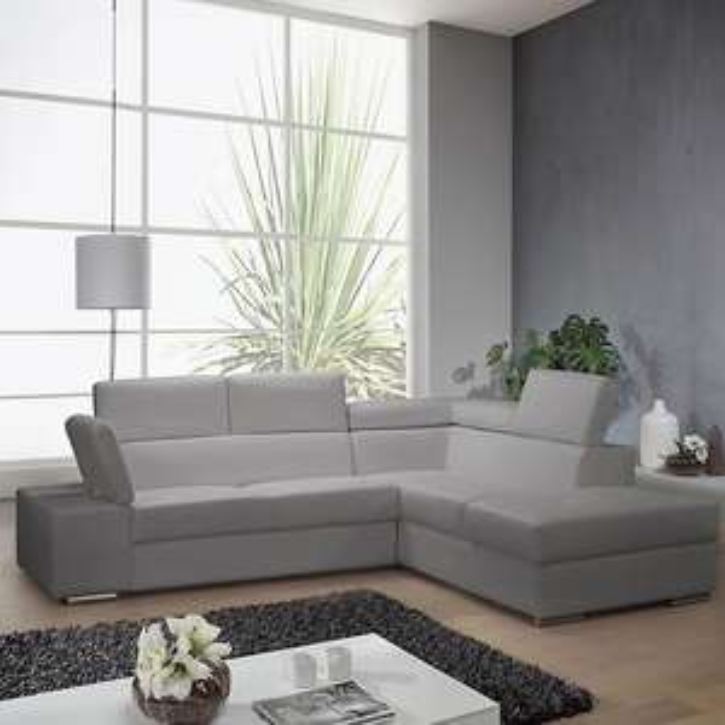 Canapé d'angle droit convertible Marley  - imitation cuir gris clair