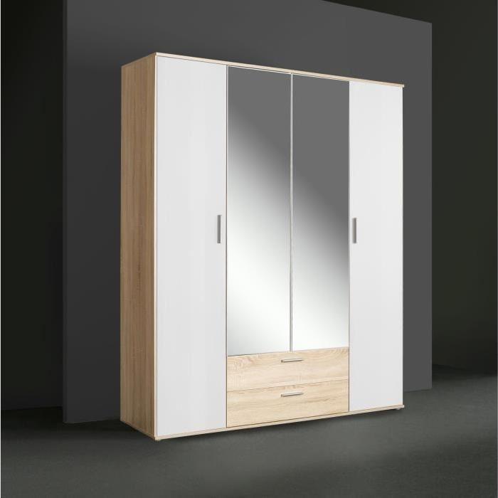 Armoire de chambre Finlandek Selkeä style contemporain blanc et chêne - L 160 cm