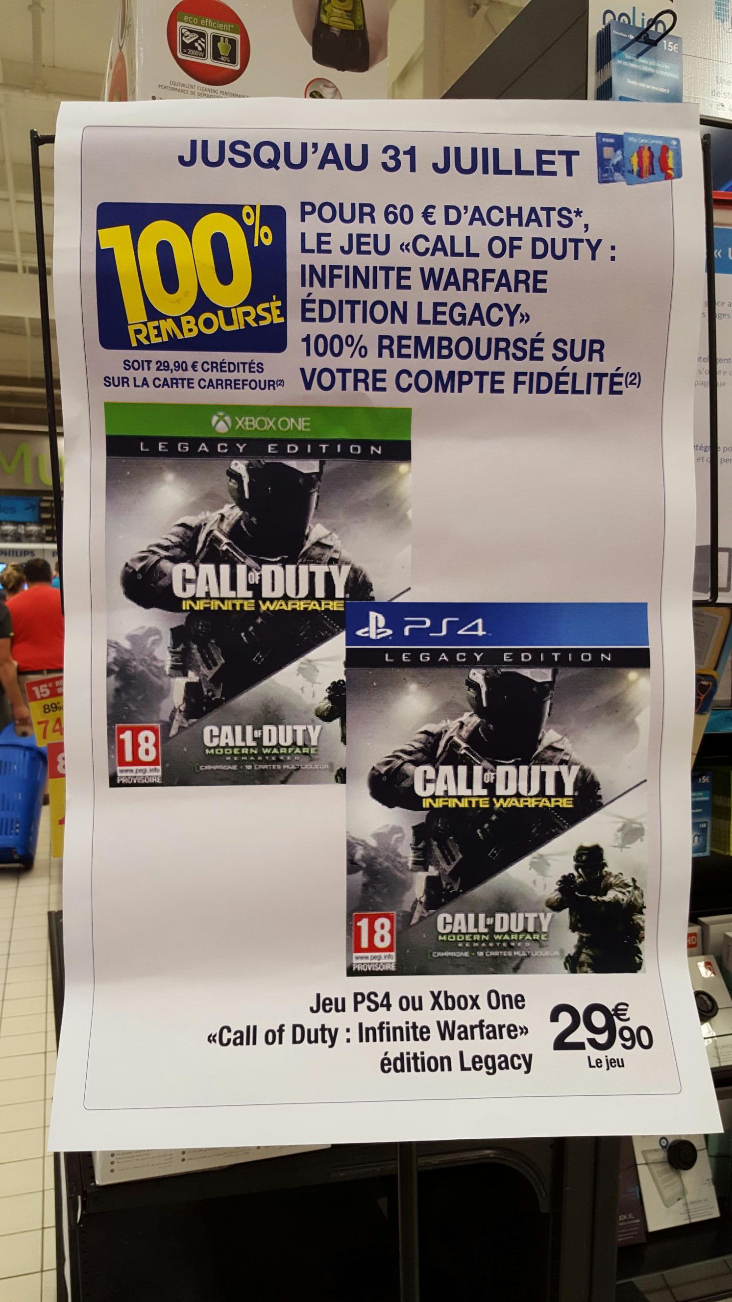 Call Of Duty Infinite Warfare Legacy Edition sur PS4 et Xbox One 100% remboursé sur la carte de fidélité dès 60€ d'achat