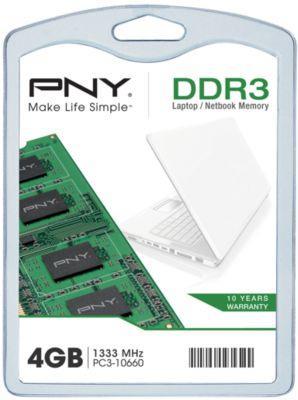 Barrette de RAM PNY SO-DIMM DDR3-1333 - 4 Go