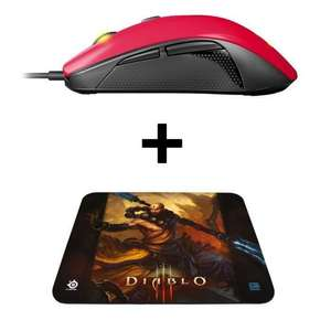 Pack Gamer : Souris Steelseries Rival 100 - Filaire - Rouge + Tapis QcK Diablo III Monk Edition
