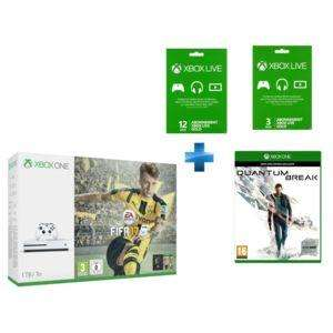 Sélection de packs Xbox One S en promo - Ex : Console Microsoft Xbox One S 1 To + Fifa 17 (dématérialisé)  + abonnement de 15 mois au Xbox Live +  Quantum Break