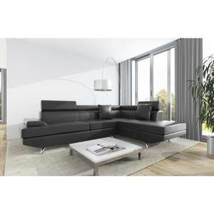 Canapé d'angle droit 4 places Scoop - Simili noir - Contemporain - L 259 x P 182 cm