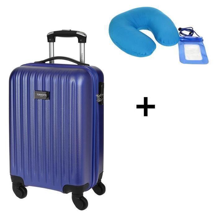 Valise Cabine Torrente, 4 roues bleu ou noir + coussin de voyage +  housse étanche