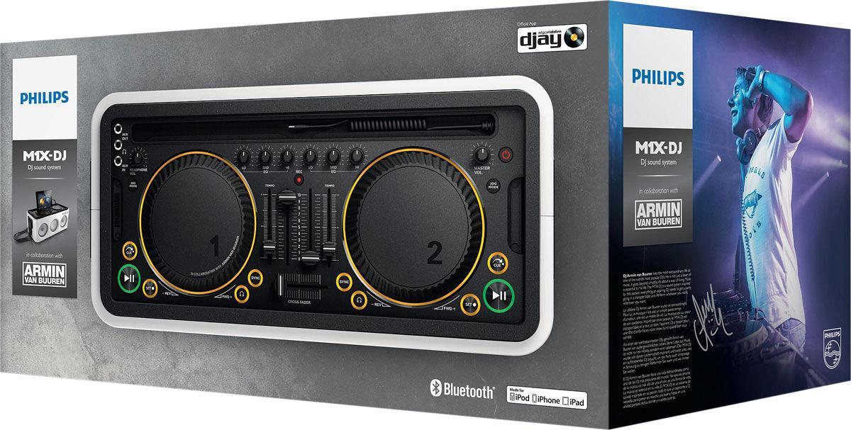 Contrôleur Philips M1X DJ Blanc avec Enceinte Sans-fil intégrée  compatible iPad et iPhone - Bluetooth