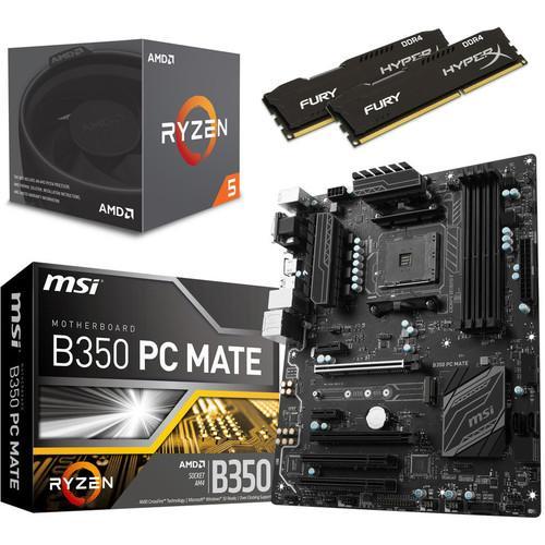 Kit d'évo : Processeur AMD Ryzen 5 1600 (3.2 GHz) + Carte mère MSI B350 PC MATE + DDR4 HyperX Fury 2666 MHz 2x4 Go