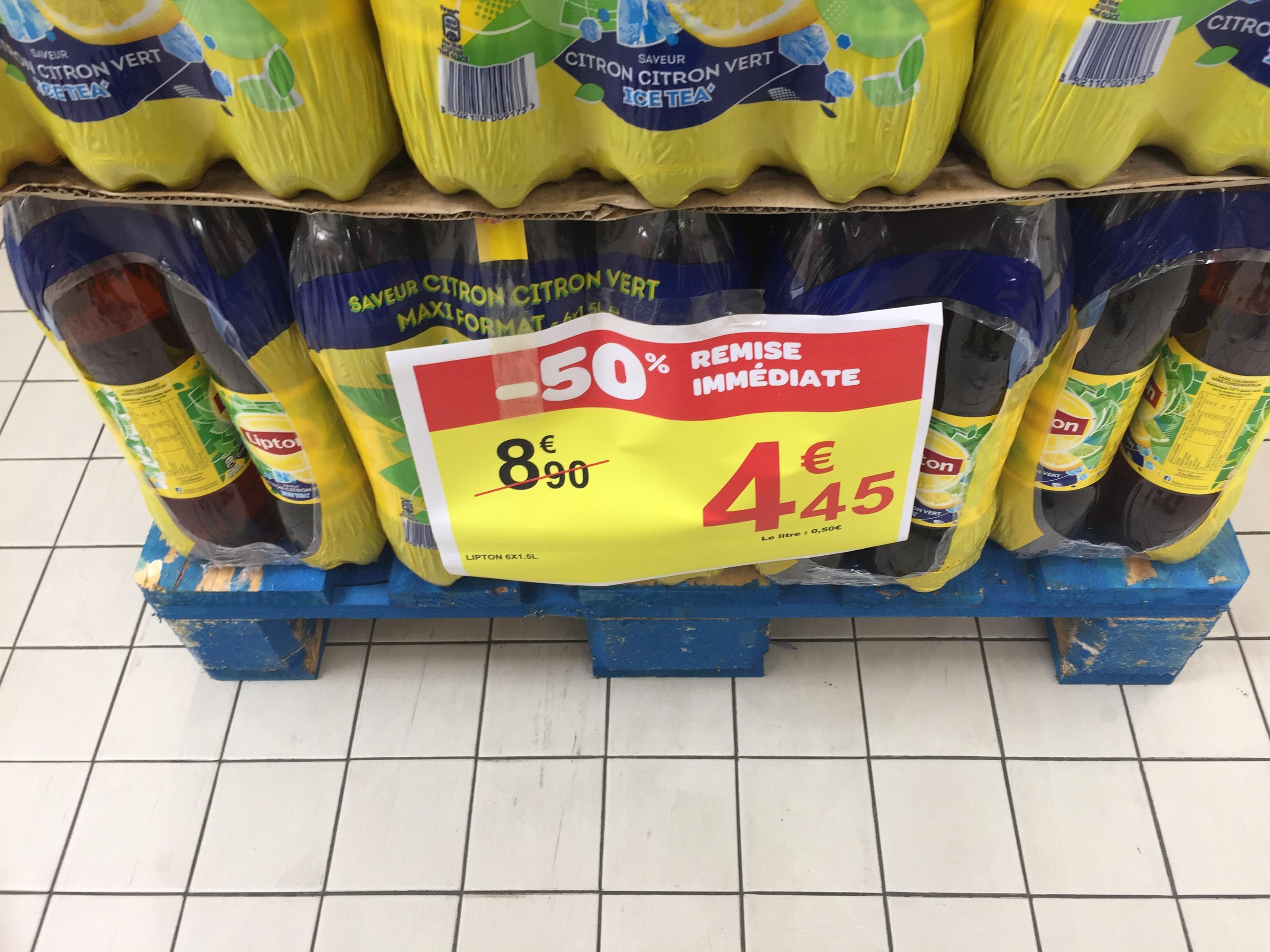Pack de 6 bouteilles de Lipton Ice Tea (1.5L) - Citron/Citron vert