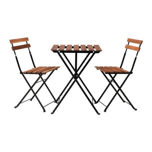 Table +2 chaises Tarno - Extérieur, noir acacia, acier teinté gris brun