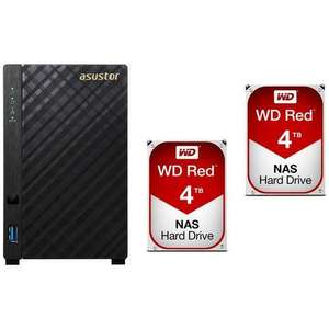 Serveur NAS Asustor AS1002T (2 baies) + 2 x Western Digital WD Red 4 To (2×4To)