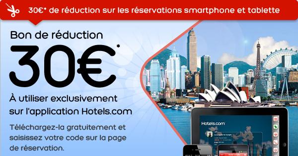 -30€ à partir de 150€ de réservation sur l'application mobile