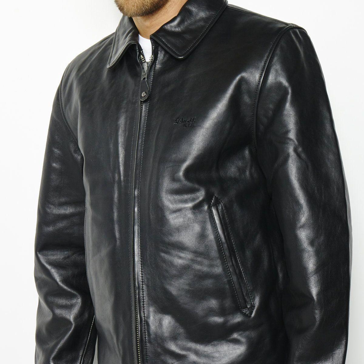 Veste en cuir Schott Nyc Lc5100 pour Homme - Noir (Tailles S, L)