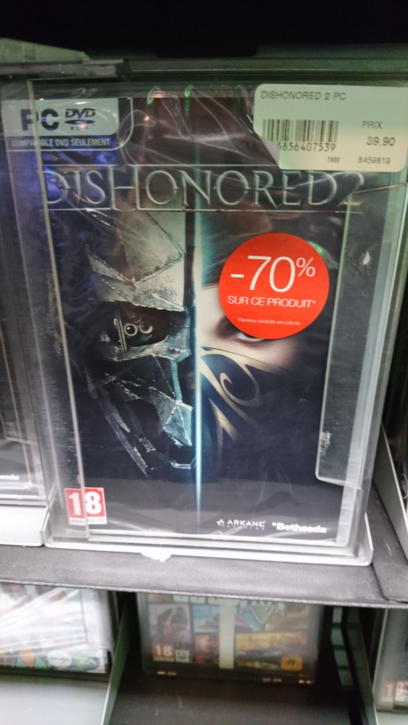 Sélection de jeux vidéo en promotion - Ex : Dishonored 2 PC/XOne