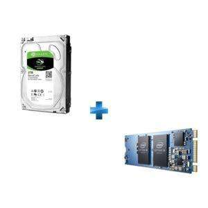 "Disque dur interne 3.5"" Seagate Barracuda (7200 tours/min) - 2 To + SSD interne Optane Memory M.2 PCIe 10Pk - 16 Go"