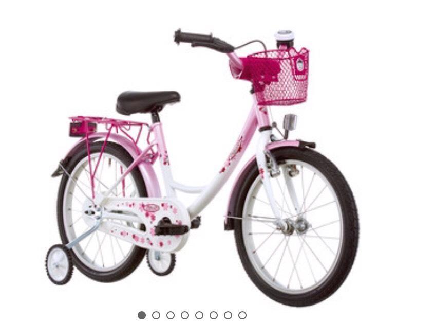 """Vélo 16"""" enfant Vermont Girly pour fille - Blanc/Rose"""