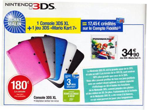 Console Nintendo 3DS XL + Mario Kart 7 (17.45€ sur carte de fidélité)