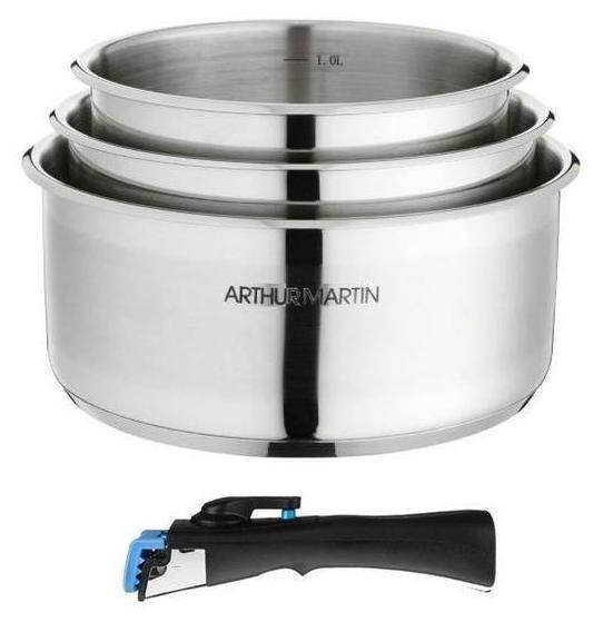 Set 3 casseroles Arthur Martin + 1 poignée gris - 16/18/20 cm, Tous feux dont induction