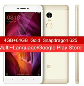 "Smartphone 5.5"" Xiaomi Redmi Note 4 Global Edition (4 Go RAM, 64 Go, 4G B20, Or) + Film de protection + Étui silicone"