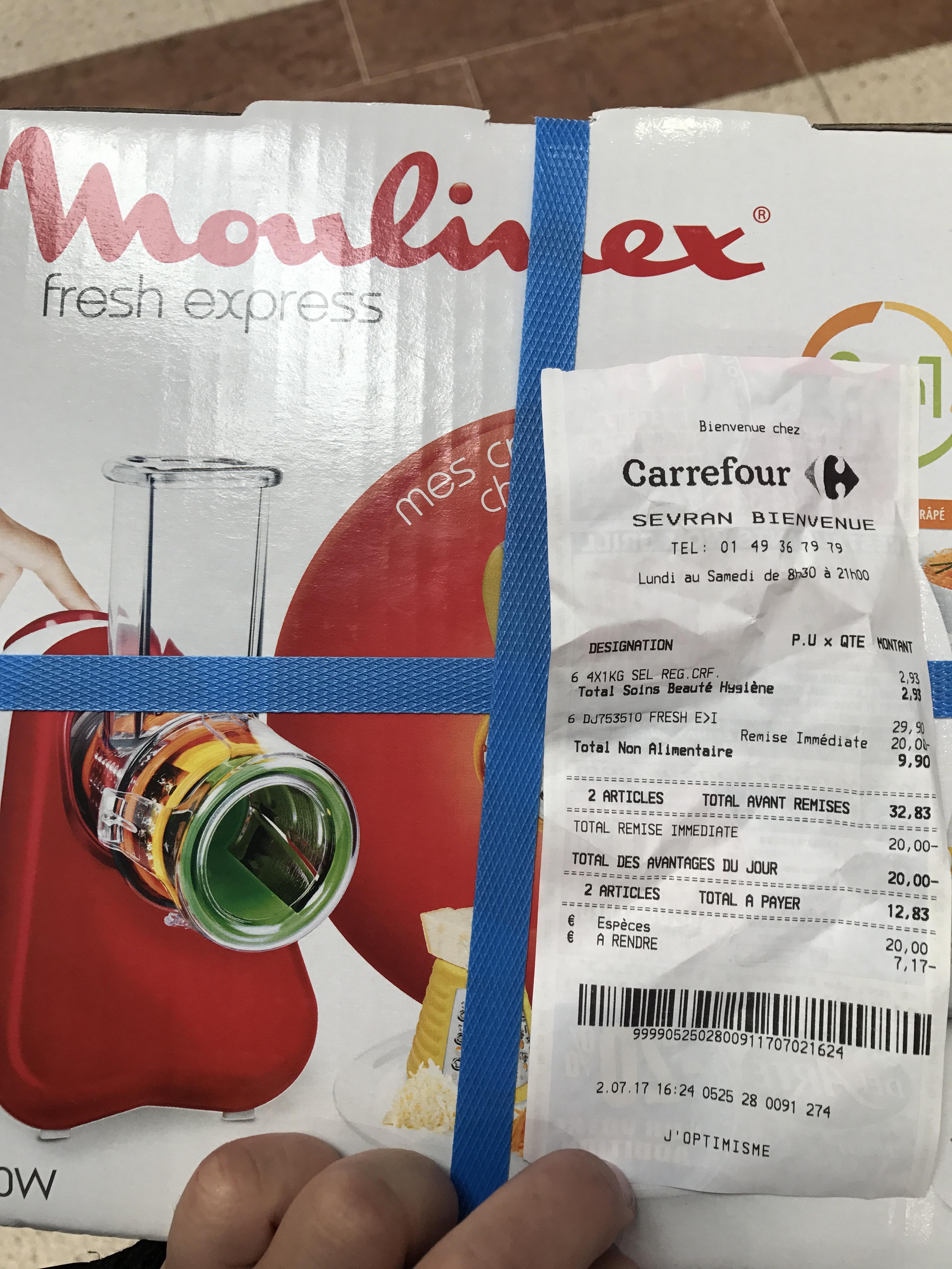 Machine Râpe Moulinex Fresh Express DJ753510