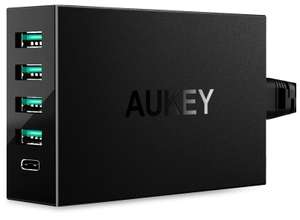 Chargeur USB Secteur Aukey PA-Y5-N-FRA - 54W, 5 Ports (1 Type C + 4 USB 5V 9.6A)