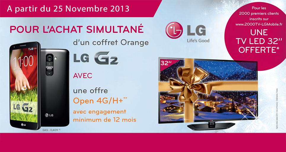 """TV LG 32"""" offerte pour tout achat d'un coffret Orange LG G2 avec un abonnement mensuel Open Play 4G/H+ 12mois mini"""