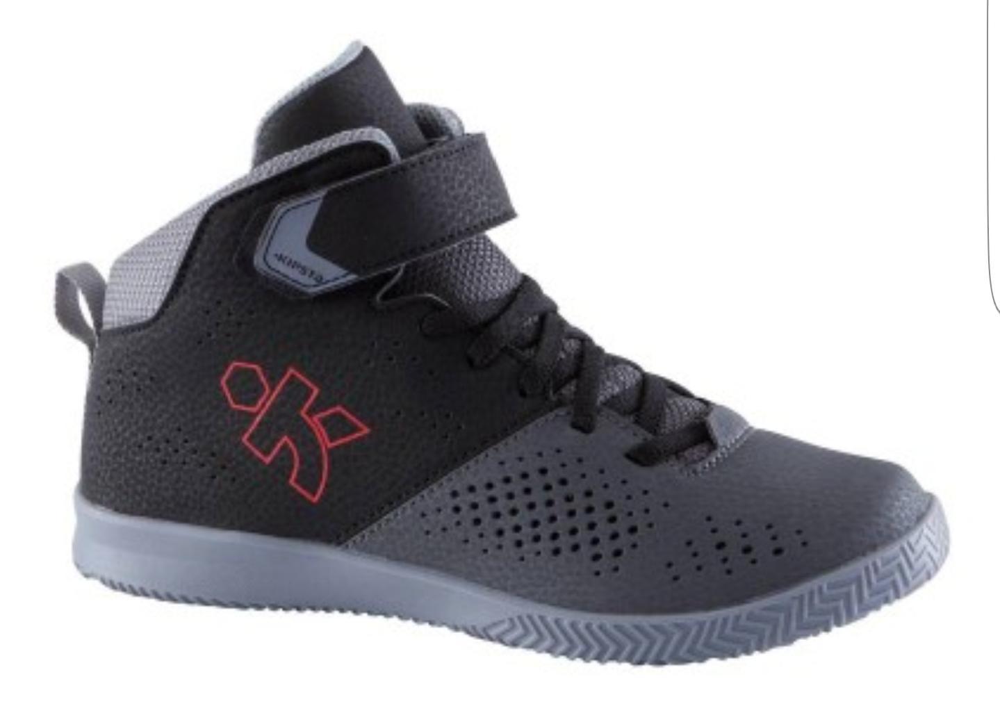 Chaussures de Basketball Kipsta Strong 100 Noir pour Enfants - Tailles : 31 à 33