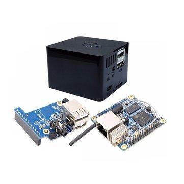 Mini-PC Orange Pi Zero (Cortex-A7, 512 Mo) + carte d'extension + boîtier (noir)
