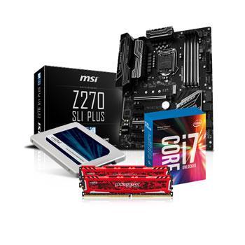 Kit d'évolution Materiel.net Antibio - processeur Intel i7 7700K + carte mère MSI Z270 SLI Plus + kit de RAM Ballistix 16 Go (2x8) + SSD Crucial MX300 (275 Go)