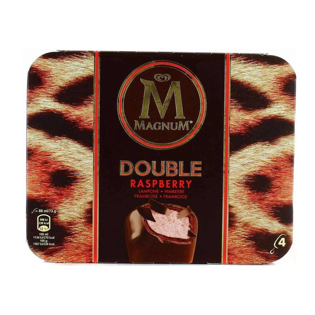 Paquet de 4 glaces chocolatées Magnum Double-Framboise - 292 g (via BDR + carte de fidélité)