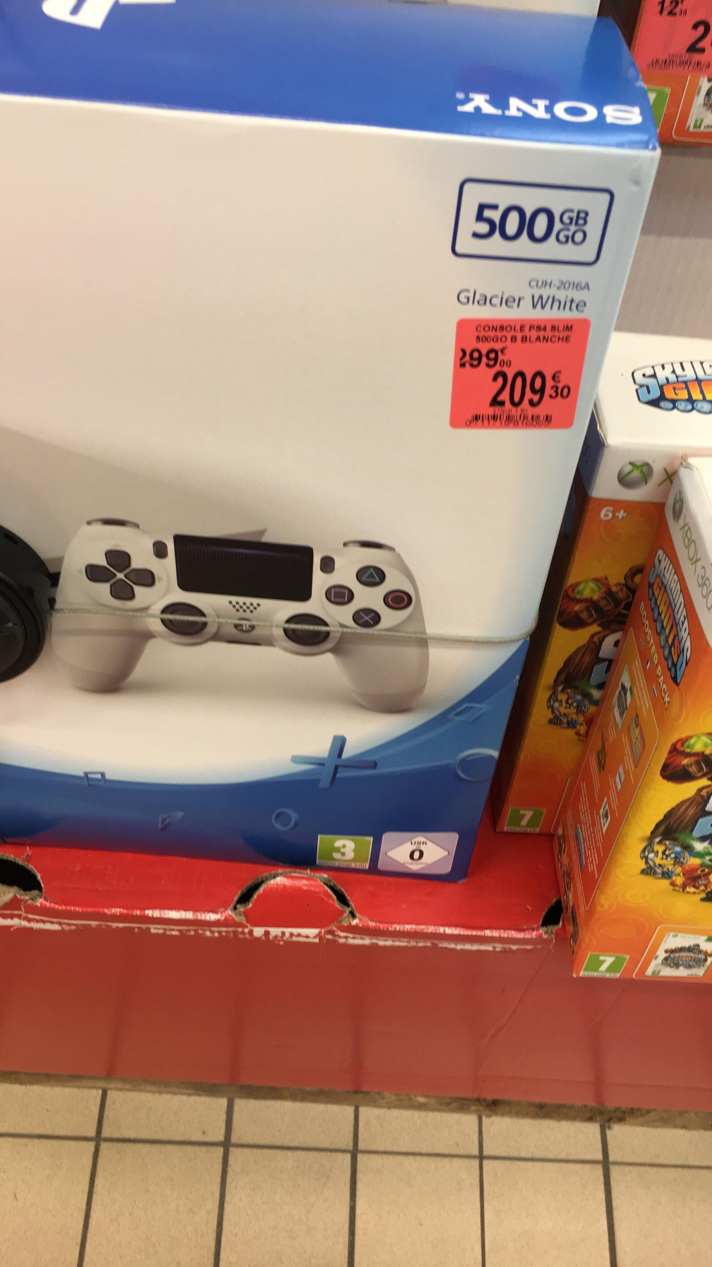 Console Sony PS4 Slim 500 Go - Glacier White (30% : 69,76€ en bon d'achat supplémentaire ce Mercredi 5 Juillet de 18h à 21h)
