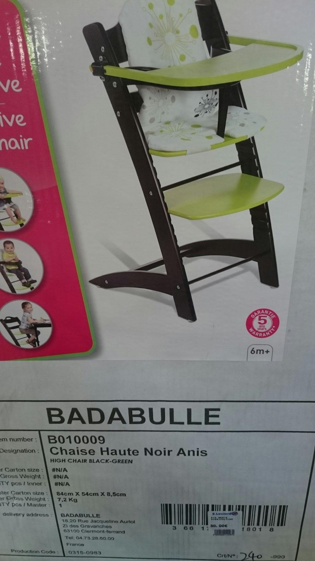 Chaise haute évolutive Badabulle - Anis