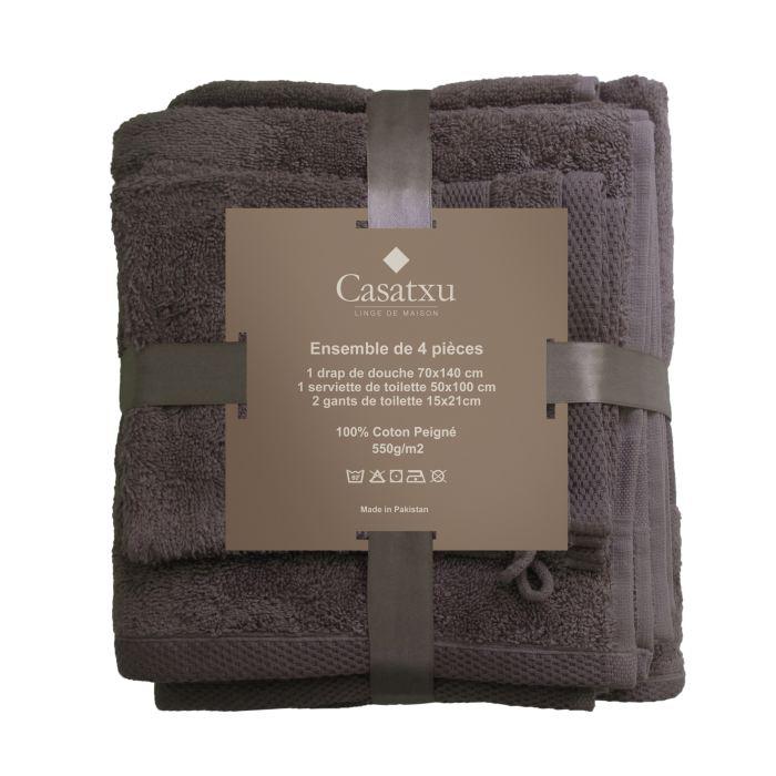 1 drap de douche 70x140cm + 1 serviette 50x100cm + 2 gants 15x21cm
