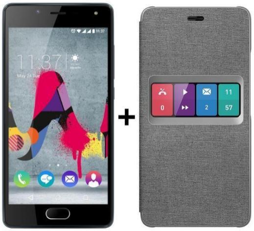 "Smartphone 5"" Wiko U Feel Lite Slate - IPS HD, RAM 2Go, 16Go, Android 6.0 + Folio Wiboard - Gris"