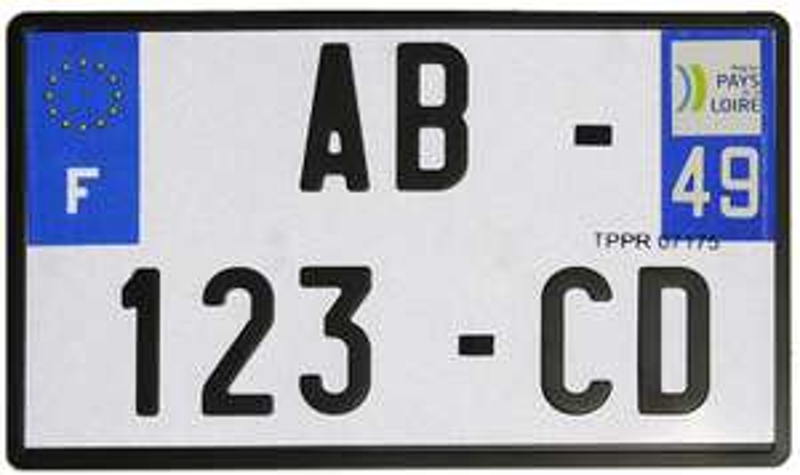 Plaque d'immatriculation moto homologuée (210 x 130 mm)
