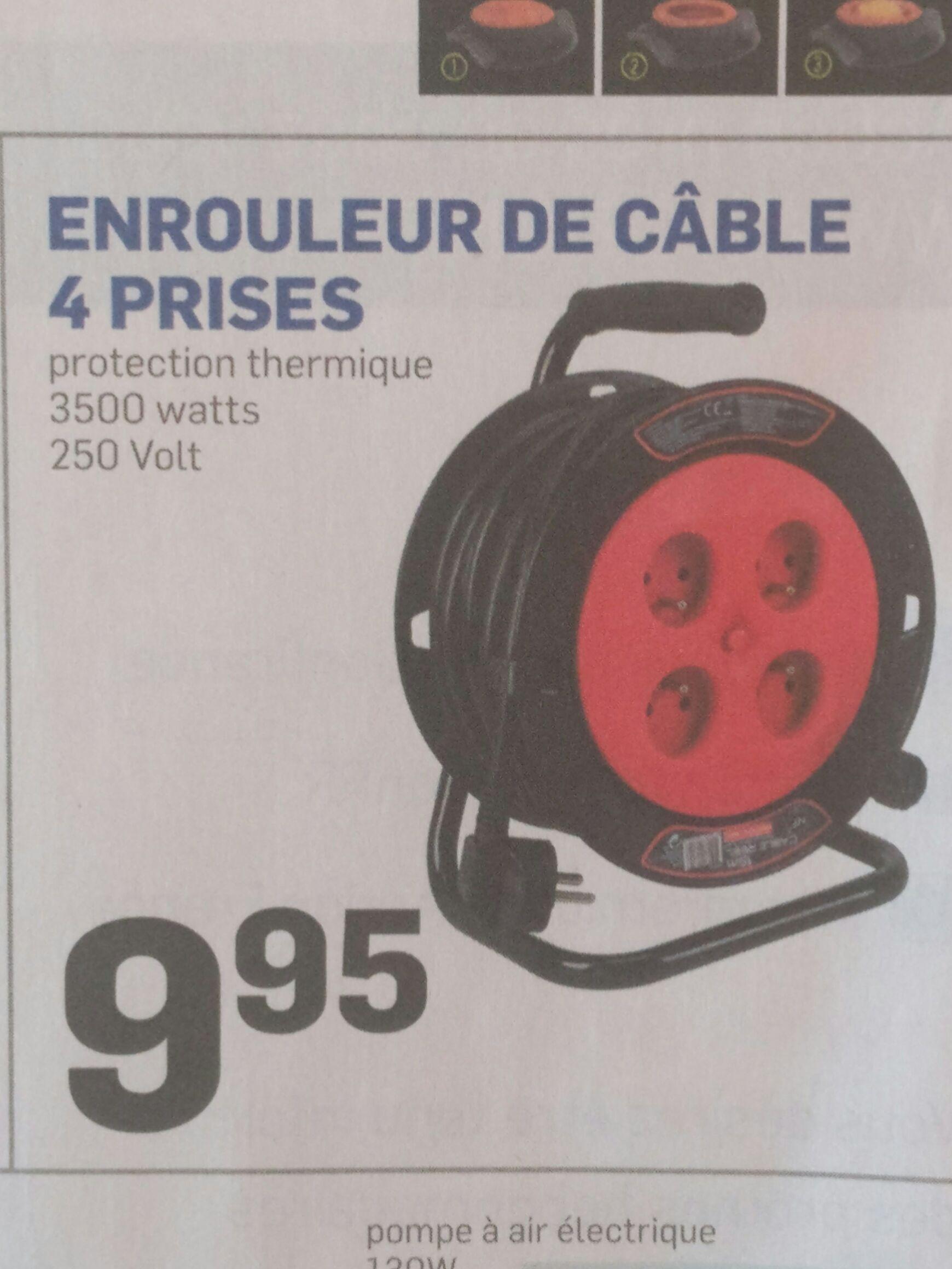 Enrouleur câble électrique - 15m, 4 prises + T, Protection thermique, Puissance Max 3500W